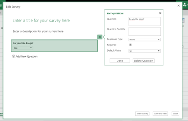 Excel Survey in Office 365 – SYNK Ventures